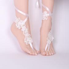Romantic Women Foot Lace Up Sandals Bridal Wedding Floral Lace Crochet Anklets