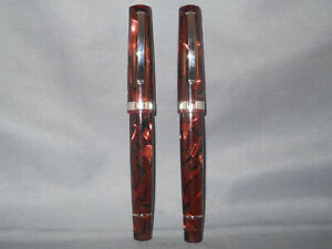 Omas Vintage Scarlet Red fountain pen and rollerball pen in leather case