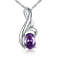 0.75 Ct Amethyst Oval Cut Pendant Necklace 925 Real Solid Sterling Silver Chain
