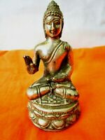 BEAUTIFUL VINTAGE SILVER METAL SEATED BUDDHA STATUE