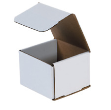 "1-500 CHOOSE QUANTITY 4x4x4 Corrugated White Mailers Packing Boxes 4"" x 4"" x 4"""