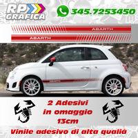 FASCE LATERALI ADESIVE ABARTH FIAT 500 adesivi 595 strisce per auto