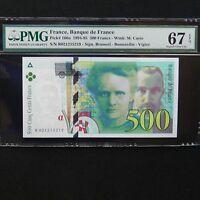 1994-95 France 500 Francs, Pick # 160a, PMG 67 EPQ Superb Gem Unc