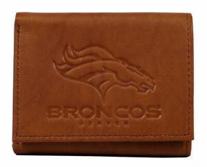 Denver Broncos Embossed Leather Trifold Wallet
