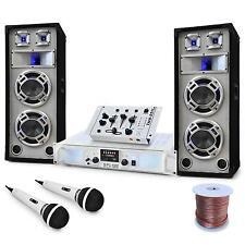 Set Dj Casse PA Amplificatore Set Mixer Console Casse HiFi Karaoke 2200W LED USB