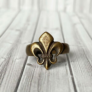 Size 7,5 US, Fleur de lis ring, Lilly jewelry, Heraldic lilly, Gothic French