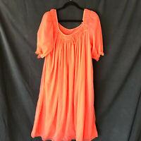 Vintage Ver Marai Nightgown Negligee Sherbert Orange M Nylone Old Hollywood