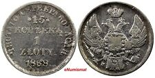 Poland Russia Nicholas I Silver 1838 НГ Zloty 15 Kopeks BETTER DATE C# 129