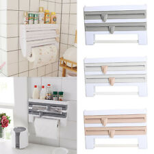 Kitchen Towel Foil 4-in-1 Kitchen Roll Holder Cling Film Dispenser Wall Mounted