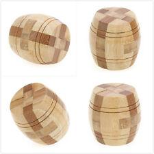 Interlocking Cube Wooden Barrel Intelligence Game Gift for Children Brain Teaser