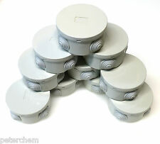 10 x Small round electric junction box & grommets waterproof IP44 80 x 40mm RO80