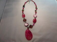 "Pink & Gray Agate, Shell Pearl & Glass Bead Necklace, 20""-134.00 Carats"