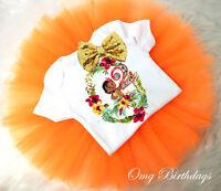 Orange Gold Baby Moana Hawaiian 2nd Second Birthday Shirt Tutu Outfit Set sq