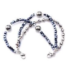 Medical ID Triple Navy/Silver Strand Beaded Interchangeable Bracelet