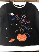 Ugly Halloween Sweater Womens Large 12/14 Black Pumpkins Candy Corn Bats Ghosts