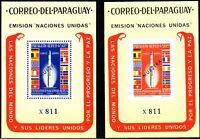 """PARAGUAY 1964 Vereinte Nationen (UNO) Blockausgaben Rakete """"Europa I"""" ** MUESTRA"""