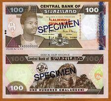 Specimen, Swaziland, 100 Emalangeni, 2001, P-32s, UNC > Blue