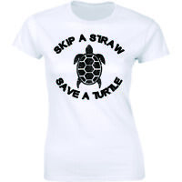 Skip A Straw Save A Turtle Pollution Plastic Protect Environment Women's T-shirt