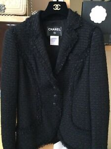 CHANEL 06C Black Tweed  CC LOGO BUTTON Blazer Jacket  FR40 US8