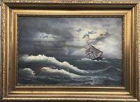 Ölgemälde Segelschiff im Sturm Marinegemälde im Prunkrahmen signiert 47 x 64 cm