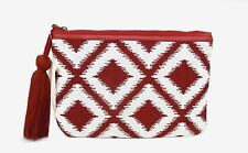 LUCKY BRAND CLUTCH POUCH BAG, DEEP RED / BROWN & WHITE