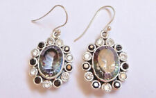 Sterling Silver Oval Mystic Topaz Clear & Dark Crystals Dangle Earrings
