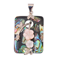 18K White Gold Filled Natural Abalone Shell Zircon Women Jewelry Pendant FD725