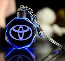 Car logo LED keychain crystal engraving color pendant accessories 1PCS Toyota DE