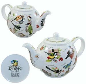 DUNOON BIRD LIFE FINE BONE CHINA LARGE TEA POT TEAPOT-5 CUPS-MADE IN ENGLAND