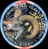 $1 Las Vegas Mandalay Bay Year of the Goat Casino Chip - UNCIRCULATED