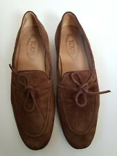TODS Mens Suede Penny Loafers Brown Suede Slip On Casual Dress Shoe 5.5
