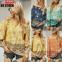Womens Chiffon Floral Off Shoulder Tops Ladies Casual Long Sleeve T Shirt Blouse