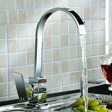 Swan Neck Kitchen Sink Mixer Tap Single Lever Swivel Spout Chrome Brass Square