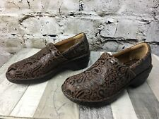 BOC Born Concept Women's 41 /9.5 Brown Textured Leather Slip On Clog Shoes