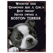 Vintage Boston Terrier Best Friend Plaque Retro Dog Home Quote Metal Wall Sign