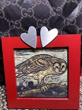 """Wooden Picture Photo Frame 2 Silver Hearts Decor for 3 1/2"""" square Image"""