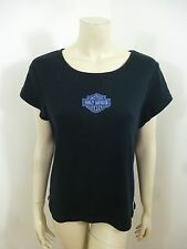 Harley-Davidson Black/Blue Cap Sleeve Woman Top Blouse Size L