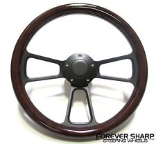 "14"" Billet Black 5 Hole Steering Wheel Burlwood Set for Yamaha Golf Cart & Rhino"