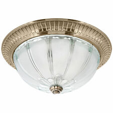 Deckenleuchte Deckenlampe 2x E27/max.60W Messing fumé antik und Glaskuppel