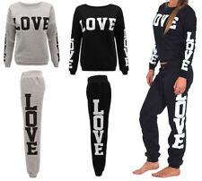 New Ladies Women Love Print Tracksuit Set Sweatshirt Jogging Bottoms Top UK 8-14