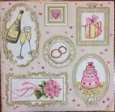 2 single paper napkin decoupage collection Serwetki Wedding Ring Champagne Heart