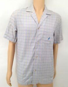 $93 Nautica Men Gray Check Pajama PJ Short-Sleeve Sleep Herringbone Shirt Size S