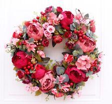 Artificial Flower Wreath Door Ornaments Hanging Garland Autumn Rich Peony Wreath