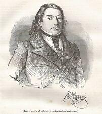 A5294 Dominique-Jean LARREY - Xilografia - Stampa Antica del 1842 - Engraving