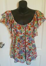 Womens H&M top sz 4 Garden Collection Floral Ruffle empire waist red green blue