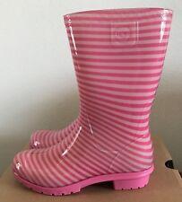 UGG Kids Girls Size 3 Raana Stripes Pink Azalea Rubber Rain Boots Waterproof