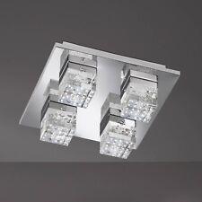 WOFI lámpara LED de techo DORA 4 Lámparas Cromo Vidrio DADO anguloso 21watt