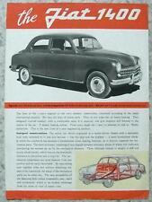 FIAT 1400 le vendite di automobili specifica foglio C1951 # 1079