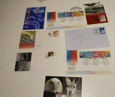 1996-2000 OLYMPIC STAMP MAXI CARDS X3 + 5 OLYMPIC COVERS