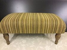 Footstool upholstered in 100% Yorkshire wool stripe